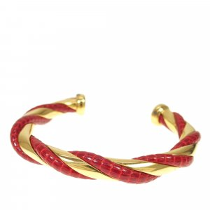 Hermes Twisted Lizard Leather Cuff