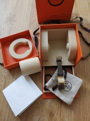 Hermès Watch With Leather Strap green grey metal