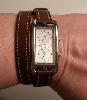 Hermès Horloge met lederen riempje zwart bruin Leer