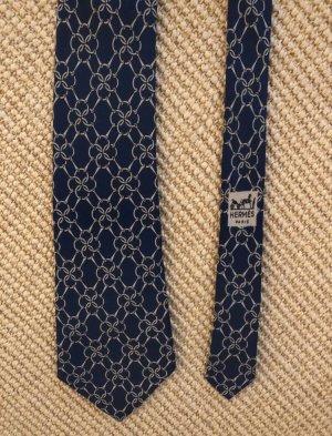 Hermès Corbata azul oscuro-crema