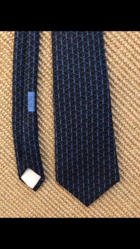 Hermès Szal krawatowy stalowy niebieski-ciemnoniebieski