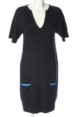 Hermès Wollen jurk lichtgrijs-blauw gestippeld zakelijke stijl