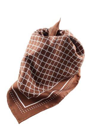 Hermine Hold Panno di seta marrone-bianco motivo a quadri stile casual