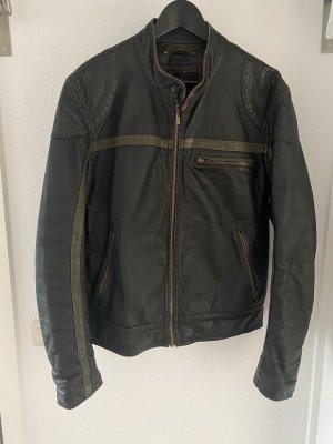 Wilson Leather Jacket black-taupe