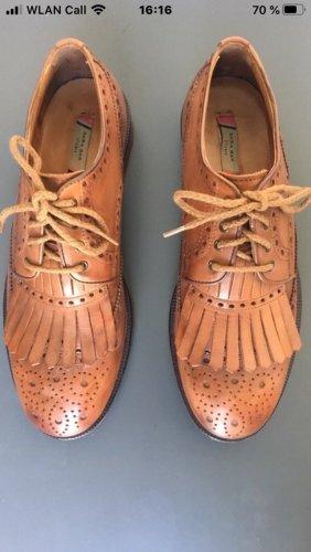 Zara Wingtip Shoes cognac-coloured