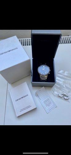 Armani Horloge met metalen riempje zilver-donkerblauw