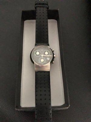 Horloge met lederen riempje antraciet-zilver Edelstaal
