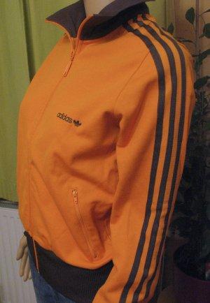 Herrliche Vintage Adidas Sportjacke..tolle Farbkombi: orange mit braun..Größe DE 36/38, Small