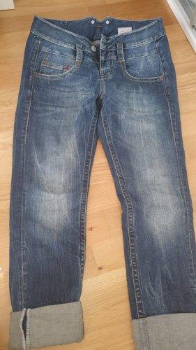 Herrlicher Spodnie typu boyfriend niebieski