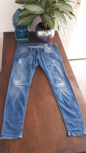 Herrlicher Jeans taille basse bleu clair tissu mixte