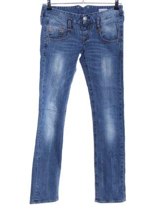 Herrlicher Jeans taille basse bleu style décontracté