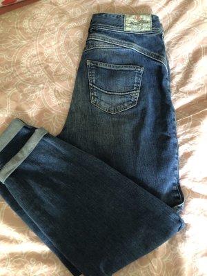 Herrlicher Jeans a vita alta blu acciaio Cotone