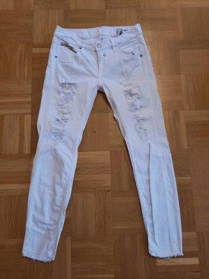 Herrlicher Jeans vita bassa bianco