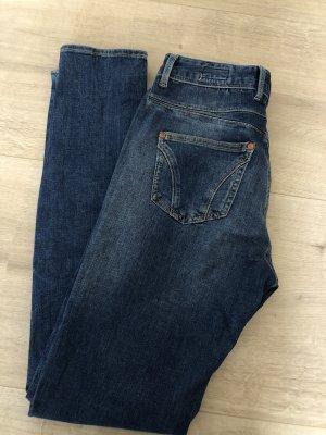 Herrlicher Dopasowane jeansy ciemnoniebieski-niebieski Bawełna