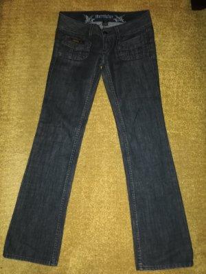 Herrlicher pantalón de cintura baja gris antracita