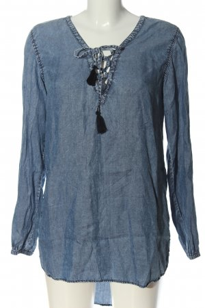 Herrlicher Blouse en jean bleu-noir moucheté style décontracté