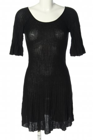 Herrlicher Jerseykleid schwarz Streifenmuster Casual-Look