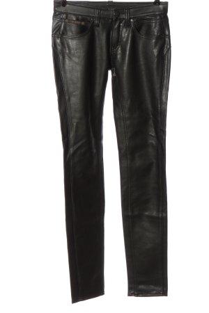 Herrlicher Spodnie z imitacji skóry czarny Z połyskiem