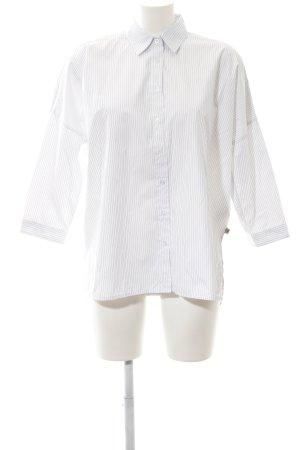 Herrlicher Langarmhemd weiß-dunkelblau Streifenmuster schlichter Stil