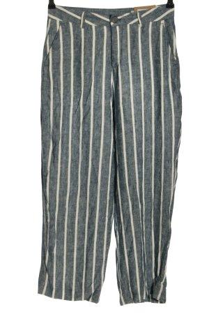 Herrlicher Pantalone di lino blu-bianco stampa integrale stile casual