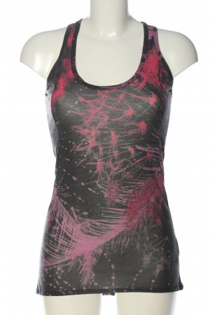 Herrlicher Lange top zwart-roze abstract patroon casual uitstraling