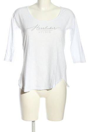 Herrlicher Print-Shirt weiß Schriftzug gedruckt Casual-Look