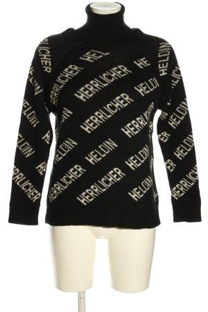 Herrlicher Sweter z golfem czarny-kremowy Wydrukowane logo W stylu casual