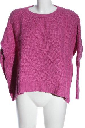 Herrlicher Sweter z okrągłym dekoltem różowy Warkoczowy wzór W stylu casual