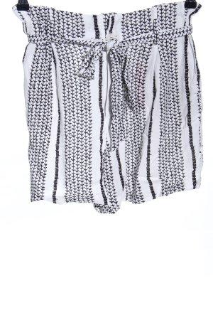 Herrlicher Shorts bianco-nero motivo grafico stile casual