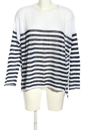 Herrlicher Strickpullover weiß-schwarz Streifenmuster Casual-Look