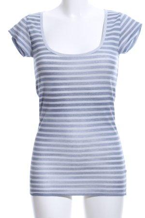 Herrlicher T-Shirt blau-hellgrau Streifenmuster Casual-Look