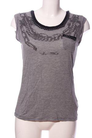 Herrlicher T-Shirt hellgrau-schwarz meliert Casual-Look