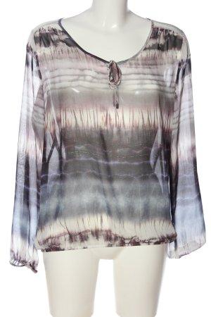 Herrlicher Transparenz-Bluse wollweiß-schwarz abstraktes Muster