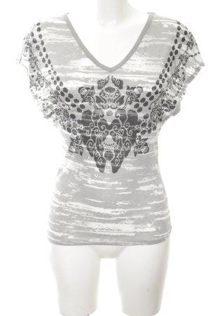Herrlicher V-Ausschnitt-Shirt Mustermix Casual-Look