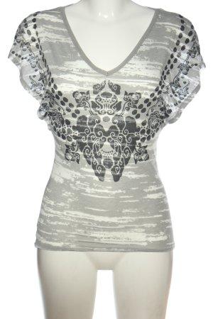 Herrlicher V-Ausschnitt-Shirt grafisches Muster Casual-Look