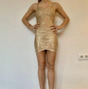Herve Leger Bandage Kleid Gold