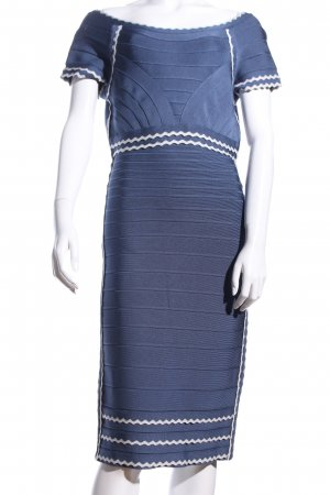 Hervé léger Bleistiftkleid blau-weiß Streifenmuster Casual-Look