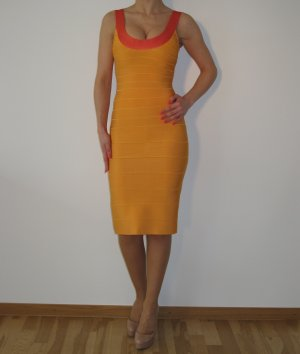 Herve Leger Kleid Bodycon Dress Korall Orange Bandage NEU ORIGINAL XS XXS 34