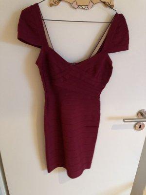 Hervé léger Robe courte rouge foncé-violet