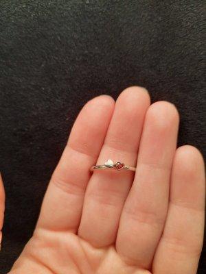 Anello d'argento argento-rosso