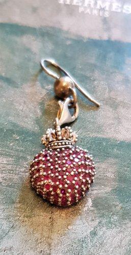 Herz mit Krone Charm Anhänger Silber mit purpur rotem Zirkonia
