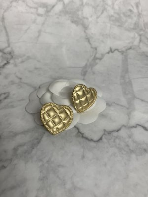 Herz Ohrringe neu gold quilted look elegant Stecker ungetragen