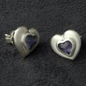 Orecchino a vite argento-viola Argento