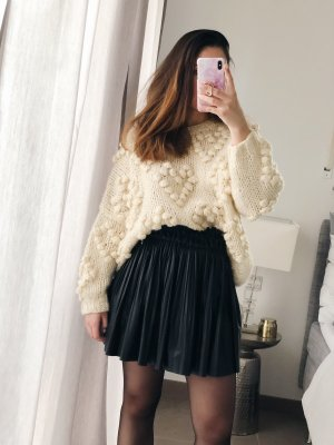 Herz Pompom Pullover Creme Weiß Handgemacht Oversize