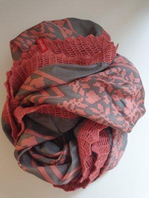 Esprit Bufanda de seda rojo claro-marrón grisáceo Seda