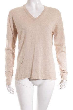 Herzblick V-Ausschnitt-Pullover beige klassischer Stil