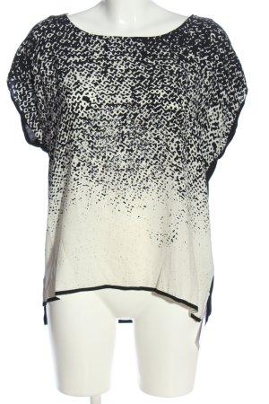 Herzensangelegenheit Kurzarm-Bluse schwarz-weiß abstraktes Muster Casual-Look