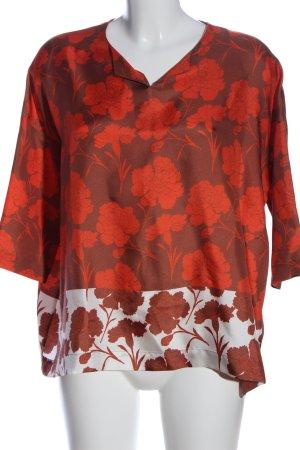 Herzensangelegenheit Schlupf-Bluse rot-hellgrau Blumenmuster Casual-Look
