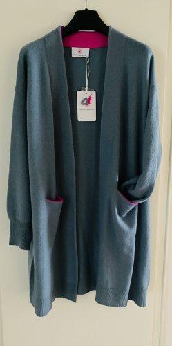 Herzensangelegenheit Manteau en tricot bleu acier-rose