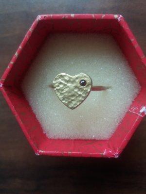 Herzring mit Stein aus Gold-Vermeil